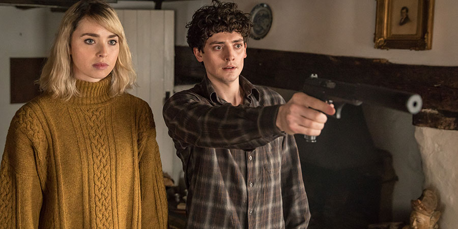 Dead In A Week (Or Your Money Back). Image shows from L to R: Ellie (Freya Mavor), William (Aneurin Barnard).