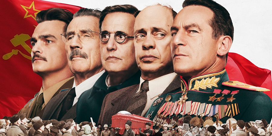 The Death Of Stalin. Image shows from L to R: Vasily Stalin (Rupert Friend), Vyacheslav Molotov (Michael Palin), Georgy Malenkov (Jeffrey Tambor), Nikita Khrushchev (Steve Buscemi), Field Marshal Georgy Zhukov (Jason Isaacs).
