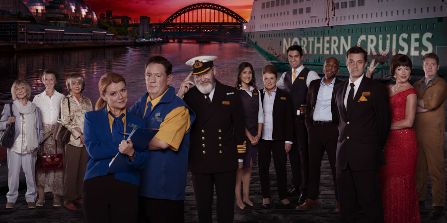 Death On The Tyne. Image shows from L to R: Mildred (Sheila Reid), Hilda (Georgie Glen), Colleen (Sue Johnston), Gemma (Sian Gibson), Terry (Johnny Vegas), Captain Jack (James Fleet), Tracy (Taj Atwal), Denise (Felicity Montagu), DJ Bobby (David Mumeni), Alan (Don Gilet), Justin Valentine (Tony Gardner), Emily (Doon Mackichan), Janus (Jason Cook).