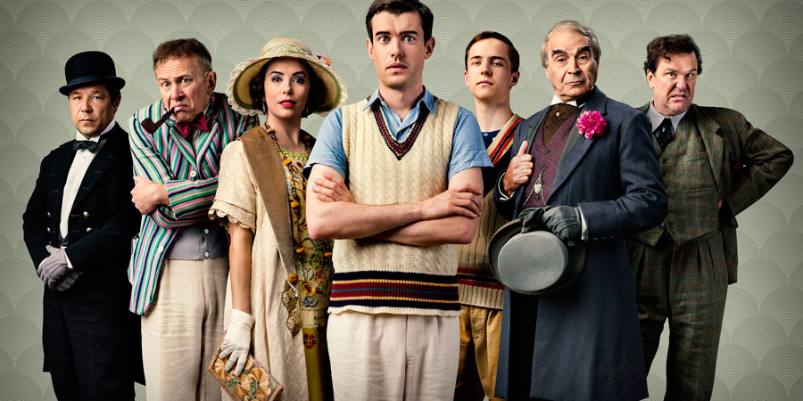 Decline And Fall. Image shows from L to R: Philbrick (Stephen Graham), Predergast (Vincent Franklin), Margot Beste-Chetwynde (Eva Longoria), Paul Pennyfeather (Jack Whitehall), Peter Beste-Chetwynde (Oscar Kennedy), Dr Fagan (David Suchet), Captain Grimes (Douglas Hodge). Copyright: Tiger Aspect Productions / BBC.