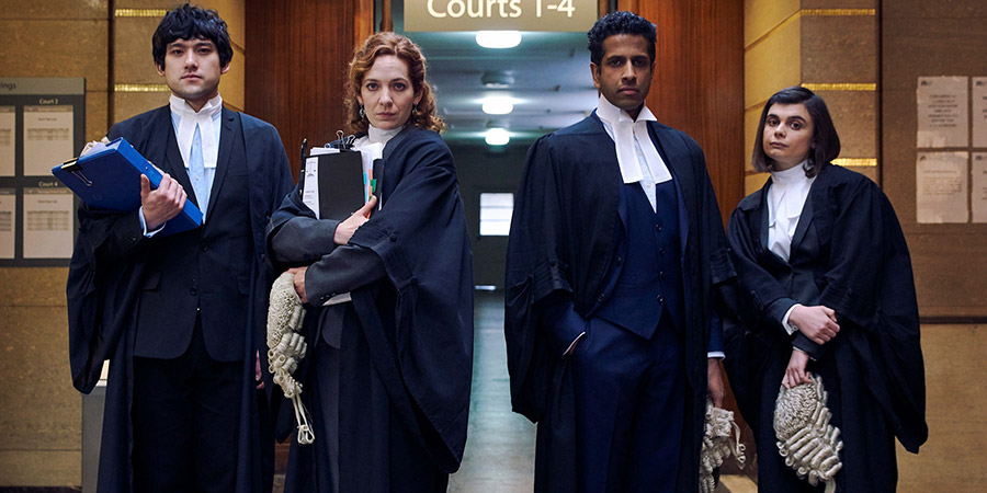 Defending The Guilty. Image shows from L to R: Will Packham  (Will Sharpe), Caroline (Katherine Parkinson), Ashley (Prasanna Puwanarajah), Danielle (Gwyneth Keyworth). Copyright: Big Talk Productions.