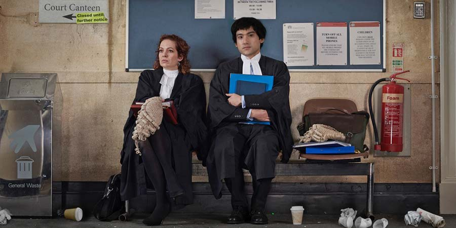 Defending The Guilty. Image shows from L to R: Caroline Bratt (Katherine Parkinson), Will Packham (Will Sharpe). Copyright: Big Talk Productions.