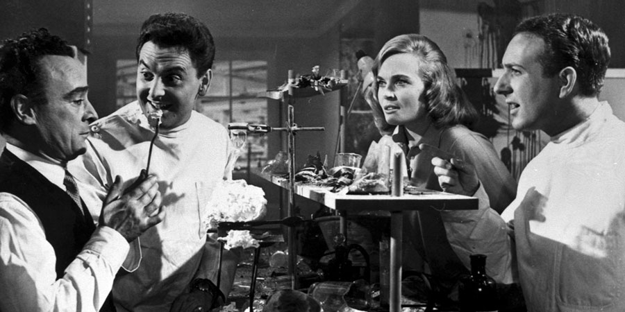 Dentist On The Job. Image shows from L to R: Sam Field (Kenneth Connor), David Cookson (Bob Monkhouse), Jill Venner (Shirley Eaton), Brian Dexter (Ronnie Stevens). Copyright: Bertram Ostrer Productions.