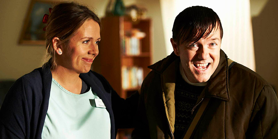 Derek. Image shows from L to R: Hannah (Kerry Godliman), Derek (Ricky Gervais). Copyright: Derek Productions.