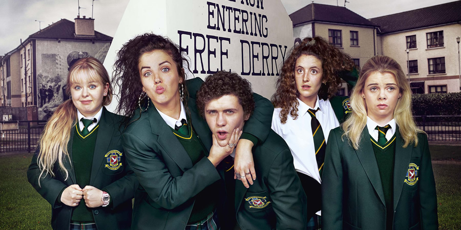 Derry Girls. Image shows from L to R: Clare Devlin (Nicola Coughlan), Michelle Mallon (Jamie-Lee O'Donnell), James Maguire (Dylan Llewelyn), Orla McCool (Louisa Harland), Erin Quinn (Saoirse Jackson). Copyright: Hat Trick Productions.