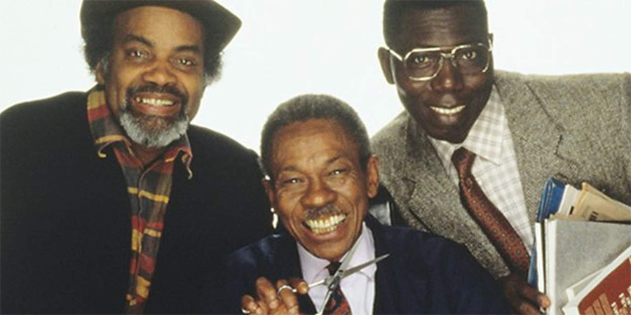Desmond's. Image shows from L to R: Porkpie (Ram John Holder), Desmond (Norman Beaton), Matthew (Gyearbuor Asante). Copyright: Humphrey Barclay Productions.