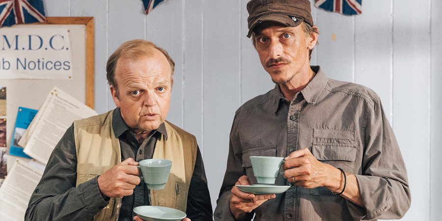 Detectorists. Image shows from L to R: Lance Stater (Toby Jones), Andy Stone (Mackenzie Crook).