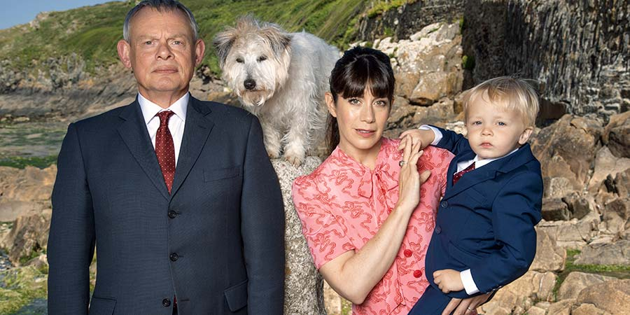 Doc Martin. Image shows from L to R: Dr Martin Ellingham (Martin Clunes), Louisa Glasson (Caroline Catz). Copyright: ITV.