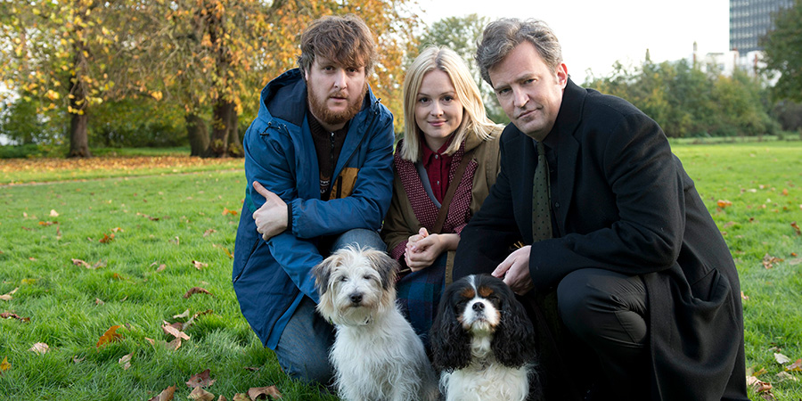 The Dog Thrower. Image shows from L to R: Jonah (Tim Key), Jessica (Kimberley Nixon), The Charismatic Man (Matthew Perry). Copyright: Runaway Fridge.
