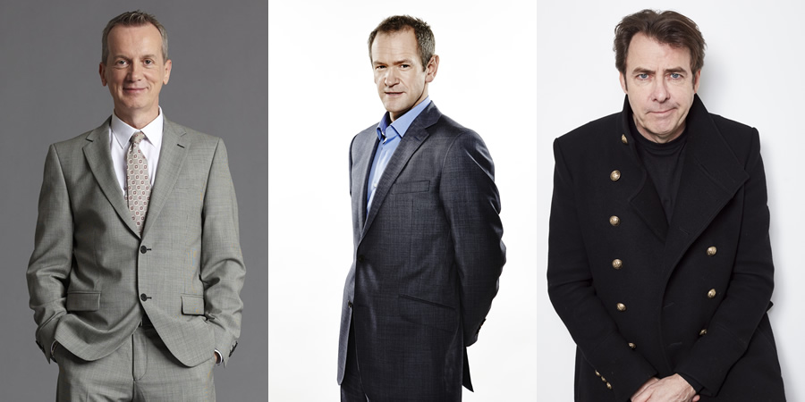 Don't Ask Me Ask Britain. Image shows from L to R: Frank Skinner, Alexander Armstrong, Jonathan Ross.