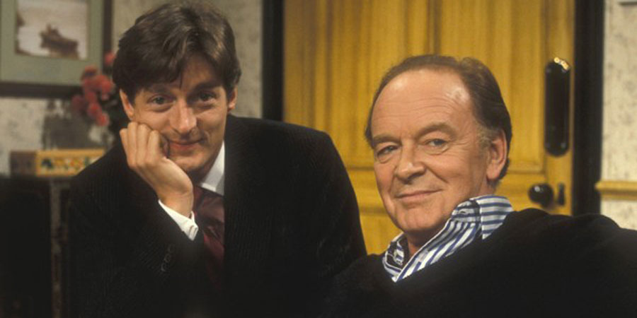 Don't Wait Up. Image shows from L to R: Tom Latimer (Nigel Havers), Toby Latimer (Tony Britton). Copyright: BBC.