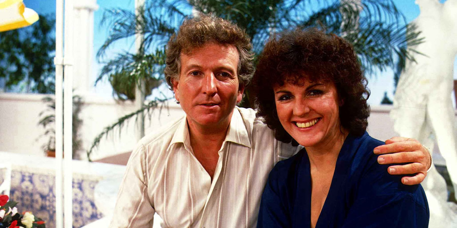 Duty Free. Image shows from L to R: David Pearce (Keith Barron), Amy Pearce (Gwen Taylor). Copyright: Yorkshire Television.