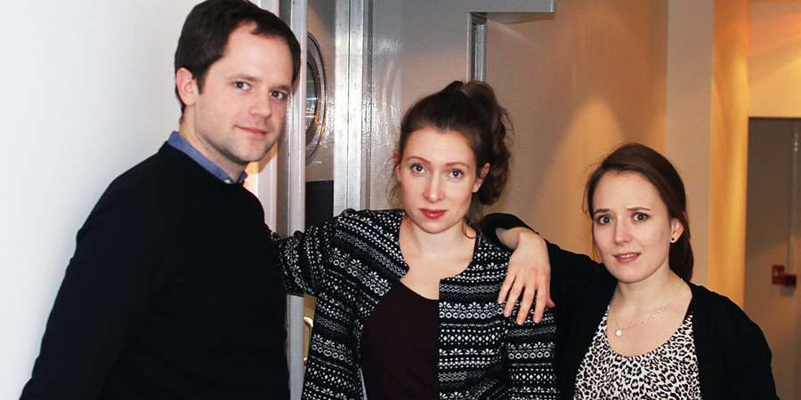 Lazy Susan: East Coast Listening Post. Image shows from L to R: Eric (David Elms), Dana (Celeste Dring), Jenna (Freya Parker). Copyright: BBC.