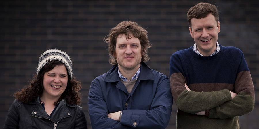 Elis James's Guide To Machynlleth. Image shows from L to R: Llinos Mai, Elis James, Benjamin Partridge.