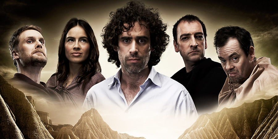 ElvenQuest. Image shows from L to R: Vidar (Darren Boyd), Penthiselea (Ingrid Oliver), Sam (Stephen Mangan), Lord Darkness (Alistair McGowan), Dean (Kevin Eldon). Copyright: BBC.