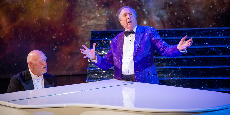 The Entire Universe. Image shows from L to R: John Du Prez, Eric Idle. Copyright: BBC / Guy Levy.