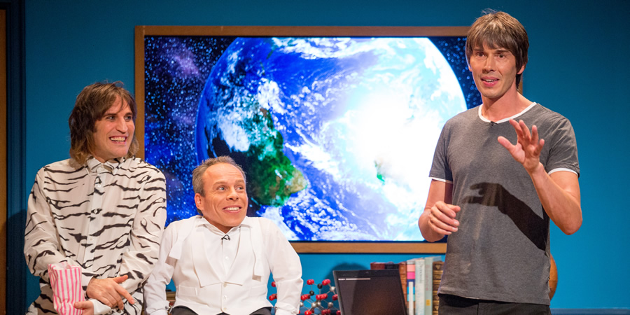 The Entire Universe. Image shows from L to R: Noel Fielding, Warwick Davis, Brian Cox. Copyright: BBC / Guy Levy.