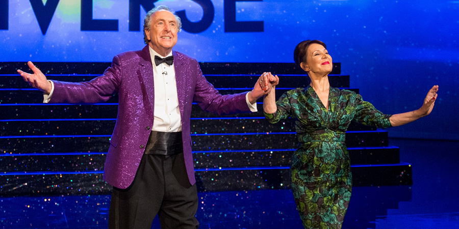 The Entire Universe. Image shows from L to R: Eric Idle, Muriel Tritt (Arlene Phillips). Copyright: BBC / Guy Levy.
