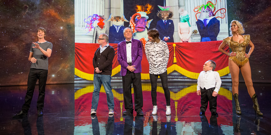 The Entire Universe. Image shows from L to R: Brian Cox, Robin Ince, Eric Idle, Noel Fielding, Warwick Davis, Hannah Waddingham. Copyright: BBC / Guy Levy.