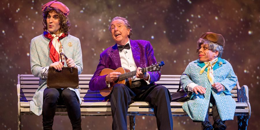The Entire Universe. Image shows from L to R: Noel Fielding, Eric Idle, Warwick Davis. Copyright: BBC / Guy Levy.