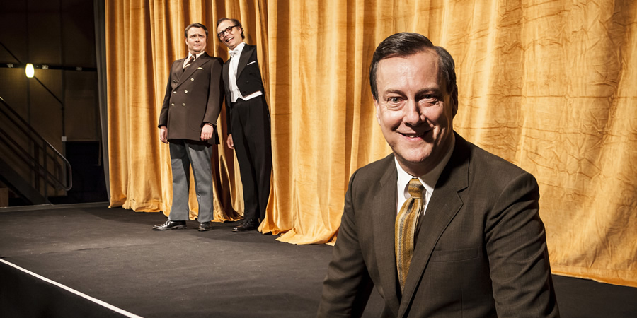 Eric, Ernie And Me. Image shows from L to R: Ernie Wise (Neil Maskell), Eric Morecambe (Mark Bonnar), Eddie Braben (Stephen Tompkinson). Copyright: Objective Productions.