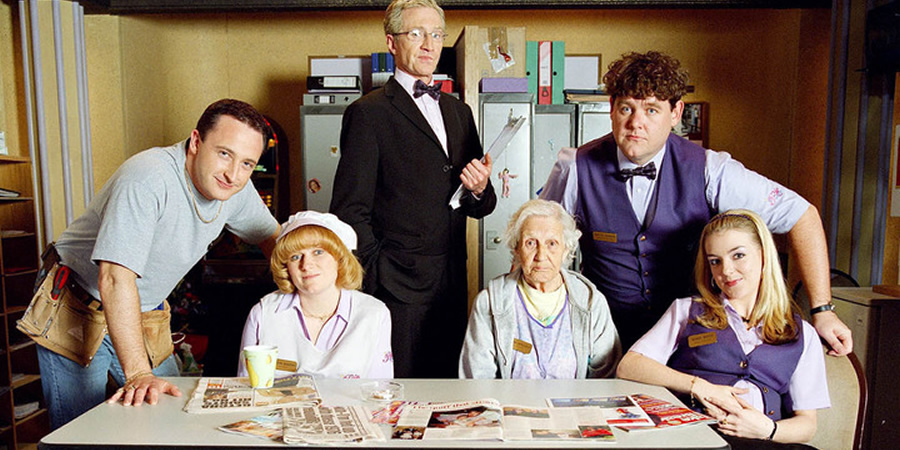 Eyes Down. Image shows from L to R: Bobby (Neil Fitzmaurice), Christine (Rosie Cavaliero), Ray (Paul O'Grady), Mary (Edna Doré), Martin (Tony Maudsley), Sandy (Sheridan Smith).
