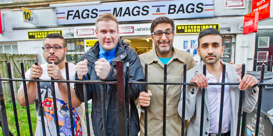 Fags, Mags And Bags. Image shows from L to R: Sanjay (Omar Raza), Dave (Donald Mcleary), Ramesh (Sanjeev Kohli), Alok (Susheel Kumar). Copyright: The Comedy Unit.