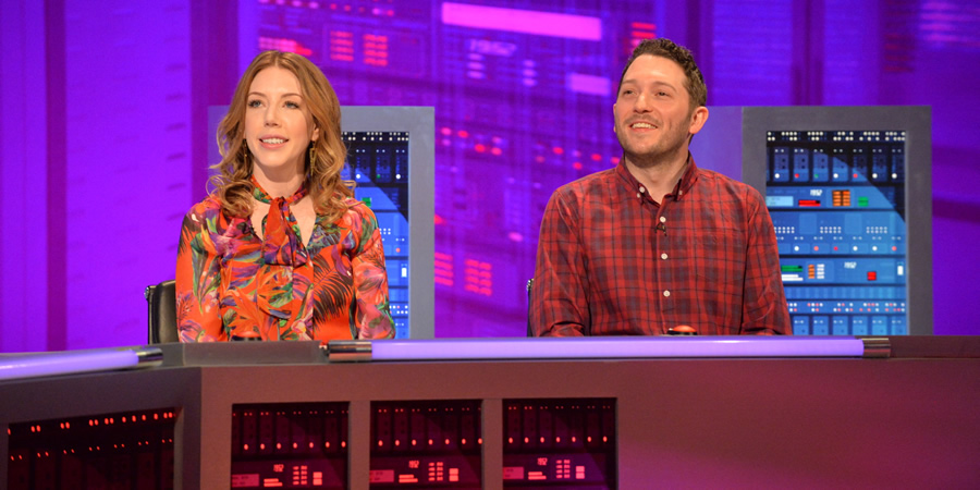 The Fake News Show. Image shows from L to R: Katherine Ryan, Jon Richardson. Copyright: Hat Trick Productions.