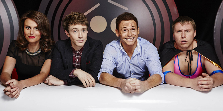 Fake Reaction. Image shows from L to R: Ellie Taylor, Matt Edmondson, Joe Swash, Hot Meat (Matt Ralph). Copyright: STV Productions.