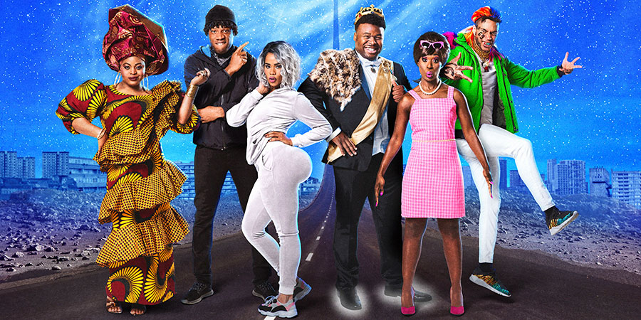 Famalam. Image shows from L to R: Gbemisola Ikumelo, Tom Moutchi, Roxy Sternberg, Samson Kayo, Vivienne Acheampong, John MacMillan. Copyright: BBC Studios.
