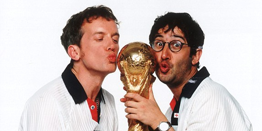 Fantasy Football. Image shows from L to R: Frank Skinner, David Baddiel. Copyright: Avalon Television.