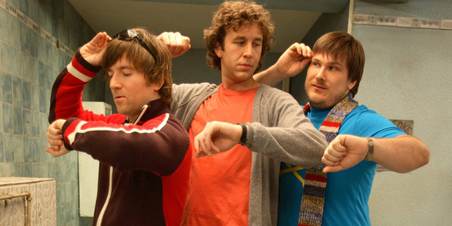 Frequently Asked Questions About Time Travel. Image shows from L to R: Pete (Dean Lennox Kelly), Ray (Chris O'Dowd), Toby (Marc Wootton). Copyright: Doglamp Productions.
