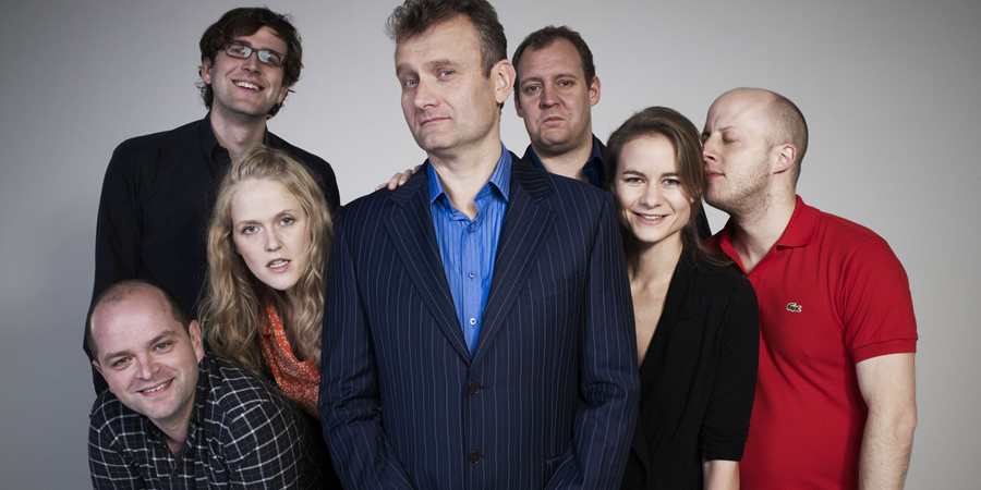 Fast And Loose. Image shows from L to R: David Armand, Humphrey Ker, Pippa Evans, Hugh Dennis, Justin Edwards, Laura Solon, Marek Larwood. Copyright: Angst Productions.
