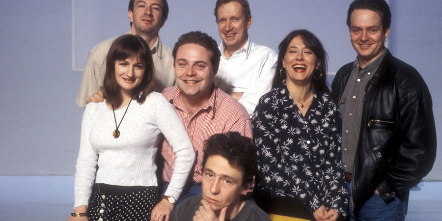 The Fast Show. Image shows from L to R: Caroline Aherne, Simon Day, John Thomson, Mark Williams, Paul Whitehouse, Arabella Weir, Charlie Higson. Copyright: BBC.