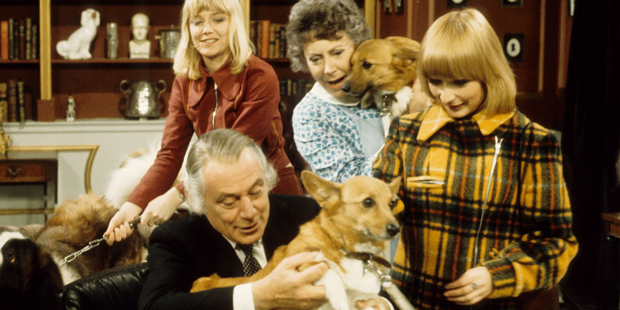 Father, Dear Father. Image shows from L to R: Anna Glover (Natasha Pyne), Patrick Glover (Patrick Cargill), Nanny (Noël Dyson), Karen Glover (Ann Holloway). Copyright: Thames Television.