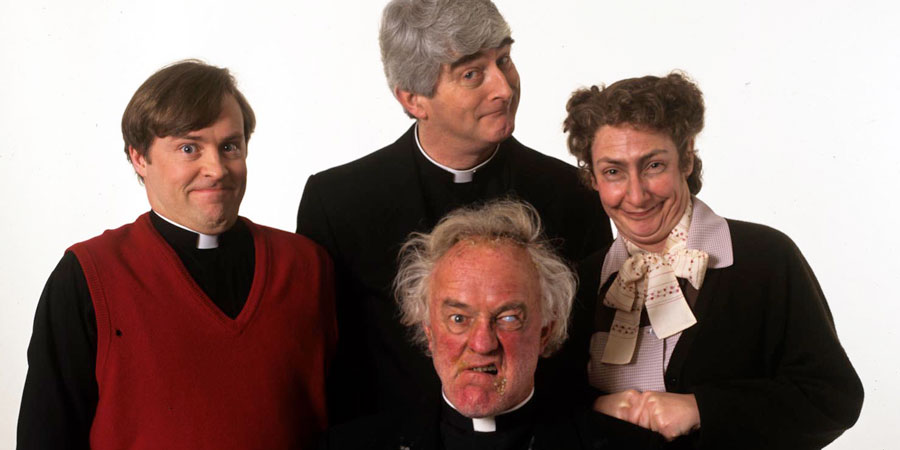 Father Ted. Image shows from L to R: Father Dougal McGuire (Ardal O'Hanlon), Father Ted Crilly (Dermot Morgan), Father Jack Hackett (Frank Kelly), Mrs Doyle (Pauline McLynn). Copyright: Hat Trick Productions.