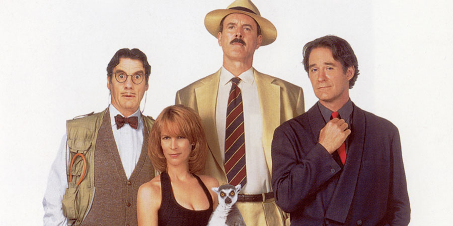 Fierce Creatures. Image shows from L to R: Adrian (Michael Palin), Willa Weston (Jamie Lee Curtis), Rollo Lee (John Cleese), Vince McCain (Kevin Kline).