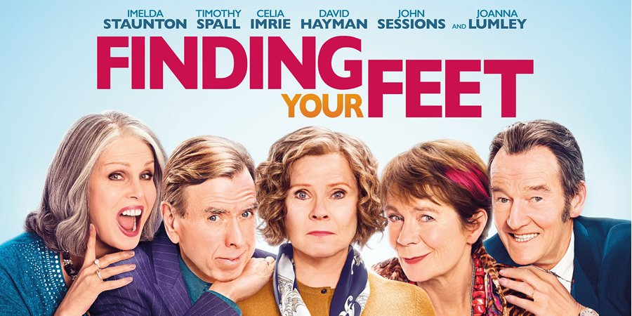 Finding Your Feet. Image shows from L to R: Joanna Lumley, Timothy Spall, Sandra (Imelda Staunton), Bif (Celia Imrie), David Hayman.