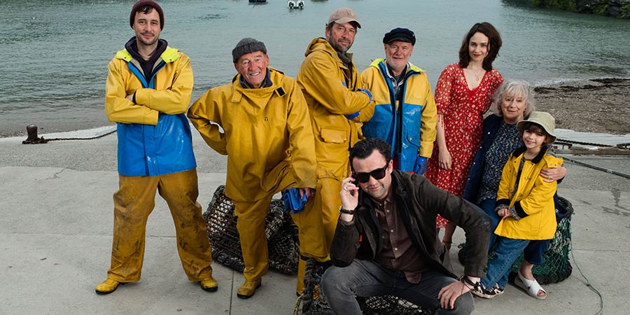 Fisherman's Friends. Image shows from L to R: Rowan (Sam Swainsbury), Jago (David Hayman), Jim (James Purefoy), Danny (Daniel Mays), Leadville (Dave Johns), Alwyn (Tuppence Middleton), Maggie (Maggie Steed), Tamsyn (Meadow Nobrega).