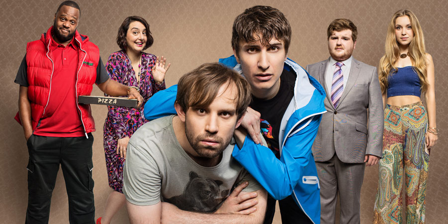Flat TV. Image shows from L to R: Courier (Javone Prince), Aoife (Rebecca Gethings), Naz (Naz Osmanoglu), Tom (Tom Rosenthal), Mikey (Ethan Lawrence), Sophie (Alicia Scott-Fawcett). Copyright: BBC.