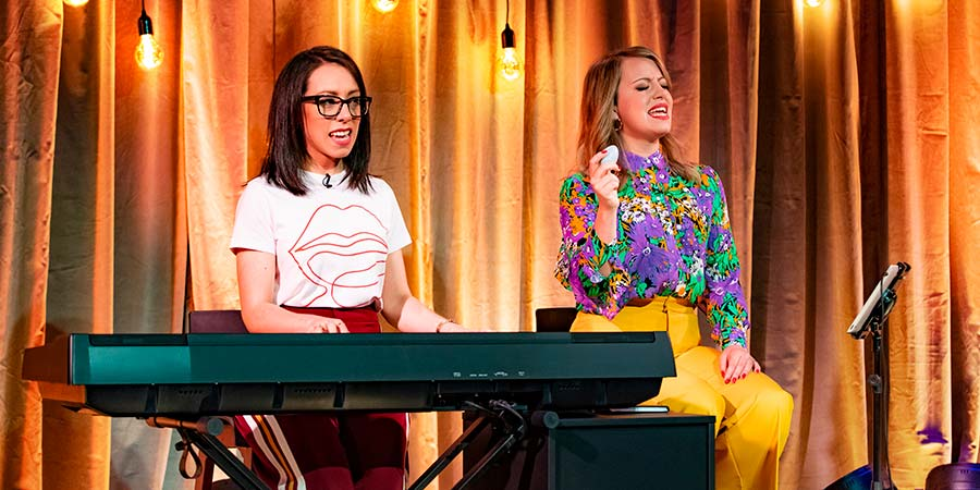 Flo & Joan: Alive On Stage. Image shows from L to R: Nicola Dempsey, Rosie Dempsey. Copyright: Avalon Television.