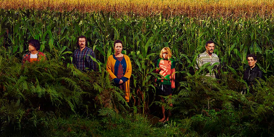 Flowers. Image shows from L to R: Shun (Will Sharpe), Donald (Daniel Rigby), Deborah (Olivia Colman), Amy (Sophia Di Martino), Maurice (Julian Barratt), Hylda (Harriet Walter). Copyright: Kudos Productions.