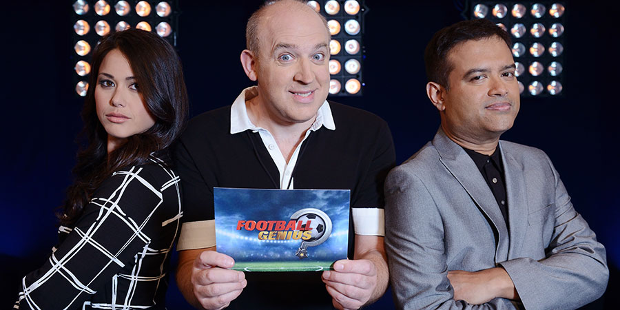 Football Genius. Image shows from L to R: Sam Quek, Tim Vine, Paul Sinha. Copyright: Hat Trick Productions.
