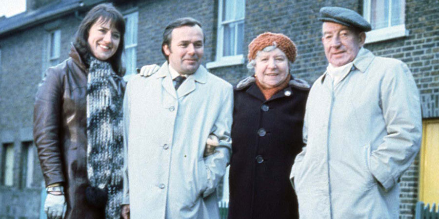 For The Love Of Ada. Image shows from L to R: Ruth Pollitt (Barbara Mitchell), Leslie Pollitt (Jack Smethurst), Ada Cresswell/Bingley (Irene Handl), Walter Bingley (Wilfred Pickles).