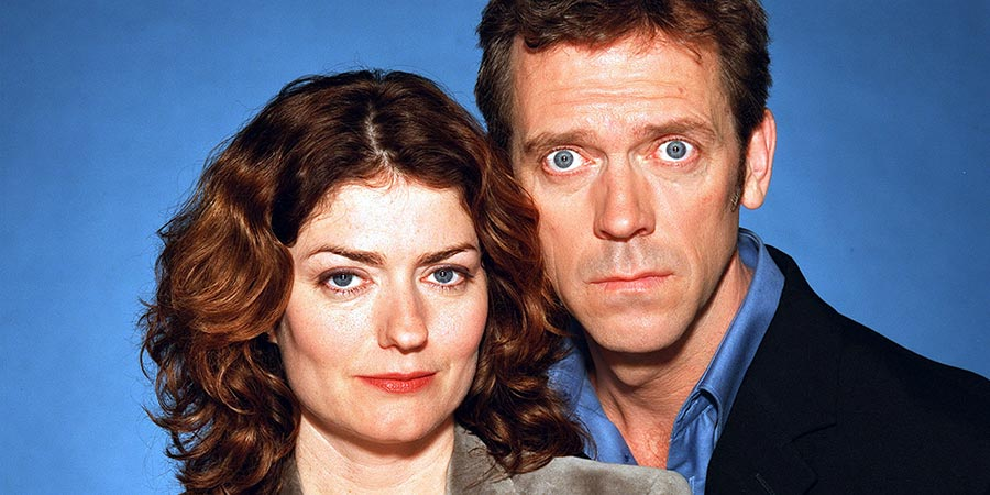 Fortysomething. Image shows from L to R: Estelle Slippery (Anna Chancellor), Paul Slippery (Hugh Laurie).