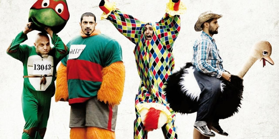 Four Lions. Image shows from L to R: Barry (Nigel Lindsay), Omar (Riz Ahmed), Hassan (Arsher Ali), Waj (Kayvan Novak).