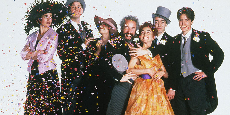 Four Weddings And A Funeral. Image shows from L to R: Carrie (Andie MacDowell), Tom (James Fleet), Fiona (Kristin Scott Thomas), Gareth (Simon Callow), Scarlet (Charlotte Coleman), Matthew (John Hannah), Charles (Hugh Grant).