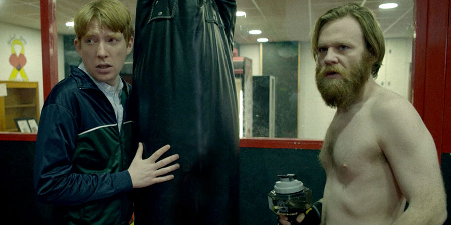 Frank Of Ireland. Image shows from L to R: Doofus (Domhnall Gleeson), Frank Marron (Brian Gleeson). Copyright: Merman.