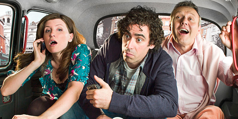 Free Agents. Image shows from L to R: Helen Ryan (Sharon Horgan), Alex Taylor (Stephen Mangan), Stephen Caudwell (Anthony Head).