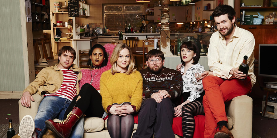 Fresh Meat. Image shows from L to R: Kingsley (Joe Thomas), Vod (Zawe Ashton), Josie (Kimberley Nixon), Howard (Greg McHugh), Oregon (Charlotte Ritchie), JP (Jack Whitehall). Copyright: Objective Productions / Lime Pictures.